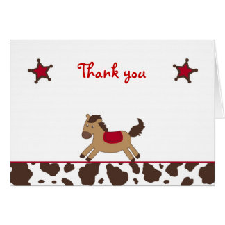 Rodeo Round Up Cowgirl Thank You Note Cards