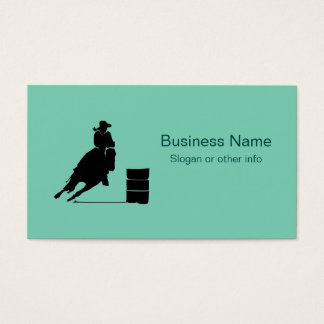 Rodeo Theme Cowgirl Barrel Racing Silhouette Business Card