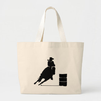 Rodeo Theme Cowgirl Barrel Racing Silhouette Large Tote Bag