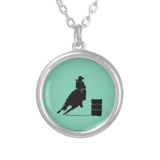 Rodeo Theme Cowgirl Barrel Racing Silhouette Pendants