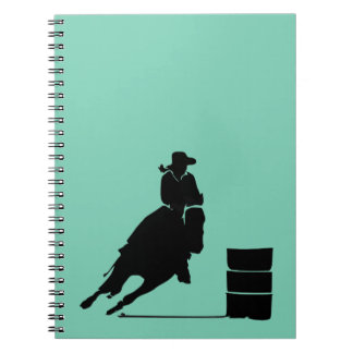 Rodeo Theme Cowgirl Barrel Racing Silhouette Notebook