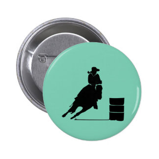 Rodeo Theme Cowgirl Barrel Racing Silhouette Pinback Button