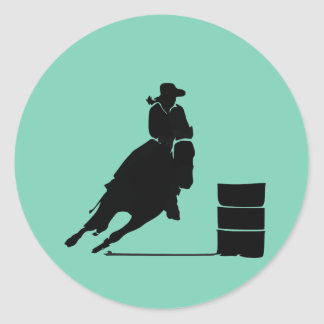 Rodeo Theme Cowgirl Barrel Racing Silhouette Round Stickers