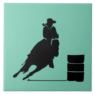 Rodeo Theme Cowgirl Barrel Racing Silhouette Ceramic Tile