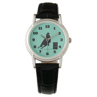Rodeo Themed Cowgirl Barrel Racing Silhouette Watch