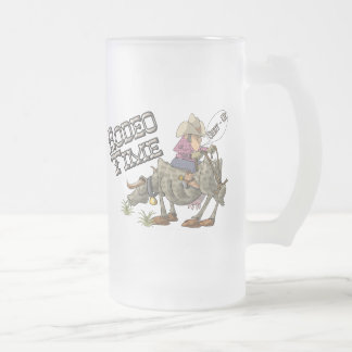 Rodeo Time Frosted Glass Beer Mug
