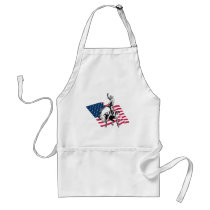 Rodeo USA - America, Cowboy Horse and flag Adult Apron