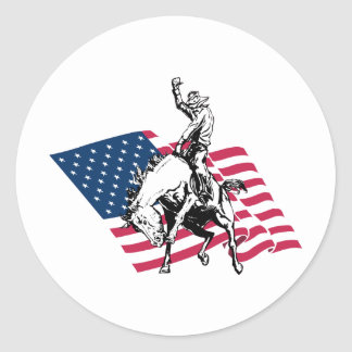 Rodeo USA - America, Cowboy Horse and flag Classic Round Sticker