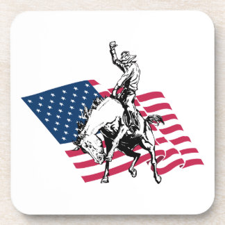 Rodeo USA - America, Cowboy Horse and flag Drink Coaster