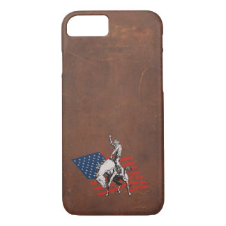 Rodeo USA - America, Cowboy Horse and flag iPhone 7 Case