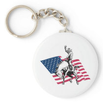 Rodeo USA - America, Cowboy Horse and flag Keychain