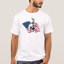 Rodeo USA - America, Cowboy Horse and flag T-Shirt
