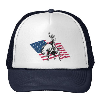 Rodeo USA - America, Cowboy Horse and flag Trucker Hat