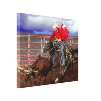 Rodeo - vaqueros - el roping del equipo impresiones en lona estiradas