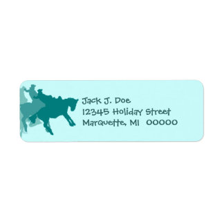 Rodeo Western Silhouette Teal Return address Label