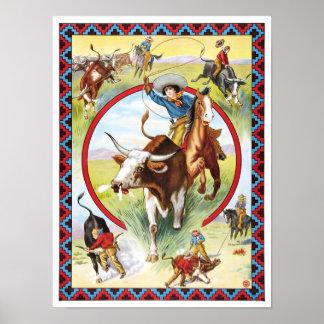 Rodeo y demostración del oeste salvaje, 1910 póster