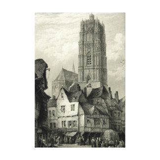 Rodez Cathedral Engraving Tower Historical Vintage Canvas Print