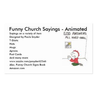rodilla-correo, refranes divertidos de la iglesia tarjetas de visita