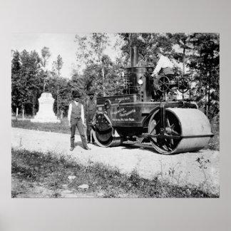 Rodillo antiguo del vapor, 1890s poster