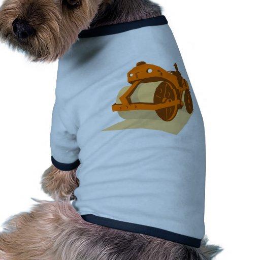 rodillo de camino de la construcción retro camiseta con mangas para perro