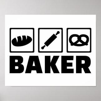 Rodillo del pretzel del pan del panadero póster