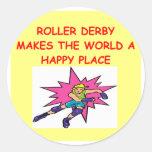 rodillo derby etiquetas redondas