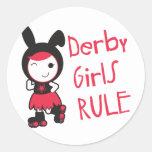 Rodillo Derby - regla de los chicas de Derby Pegatina Redonda