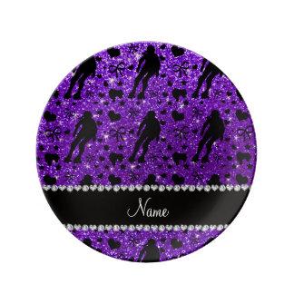 Rodillo púrpura derby del brillo conocido de plato de cerámica