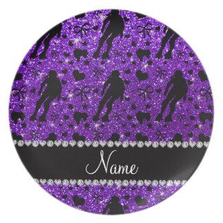Rodillo púrpura derby del brillo conocido de platos de comidas