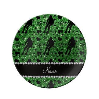Rodillo verde conocido de encargo derby del brillo platos de cerámica