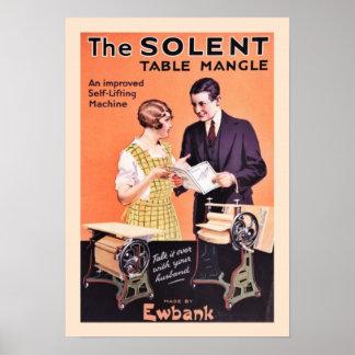 Rodillo viejo de la tabla del lavadero póster