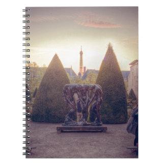 Rodin jardin du musée à l'heure d'or note book