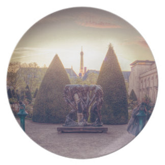 Rodin jardin du musée à l'heure d'or dinner plate