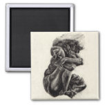 "Rodin Sculpture Sketch Magnet - 2"" x 2"""