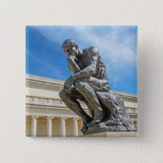Rodin Thinker Statue Pinback Button