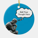 Rodin's Thinker - Add Your Custom Thought Double-Sided Ceramic Round Christmas Ornament