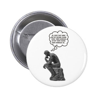 Rodin's Thinker - Cousins Pinback Button