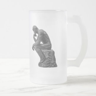 Rodin's Thinker Frosted Glass Beer Mug