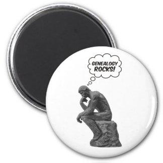 Rodin's Thinker - Genealogy Rocks! 2 Inch Round Magnet