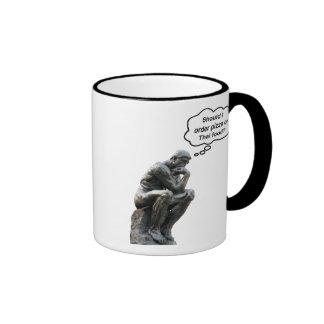 Rodin's Thinker - Pizza or Thai Food? Ringer Coffee Mug