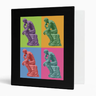 Rodin's Thinker - Pop Art 3 Ring Binder