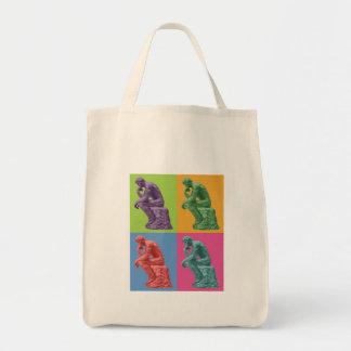 Rodin's Thinker - Pop Art Grocery Tote Bag