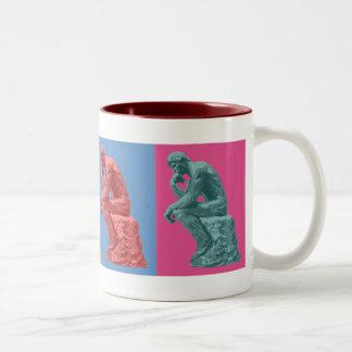 Rodin's Thinker - Pop Art Two-Tone Coffee Mug