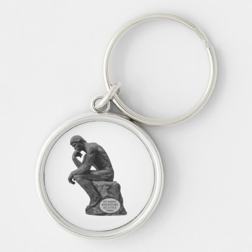 Rodin's Thinker - So Many Ancestors Silver-Colored Round Keychain