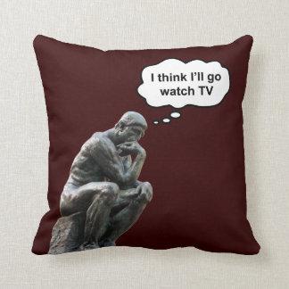 Rodin's Thinker Statue - I Think I'll Go Watch TV Throw Pillow
