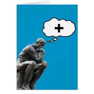 Rodin's Thinker Statue - Think Positive Card