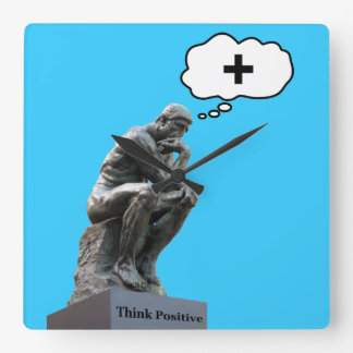 Rodin's Thinker Statue - Think Positive Square Wall Clock