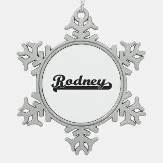 Rodney Classic Retro Name Design Snowflake Pewter Christmas Ornament