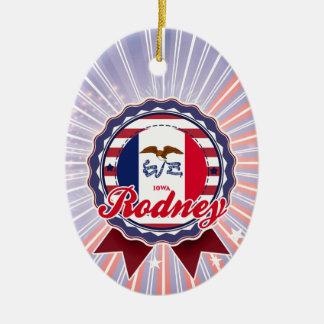 Rodney, IA Double-Sided Oval Ceramic Christmas Ornament