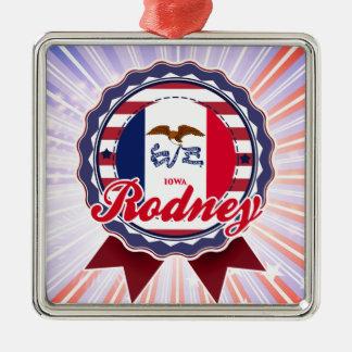 Rodney, IA Square Metal Christmas Ornament